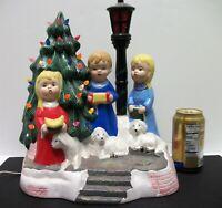 VTG Handpainted Ceramic Carolers w Lighted Christmas Tree 1974 RARE