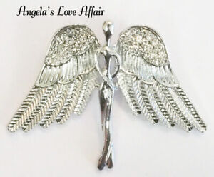 SILVER CRYSTAL GUARDIAN ANGEL WINGS BROOCH PIN MEMORY PROTECTION LOVE CHRISTMAS