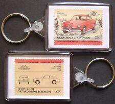 1957 ALFA ROMEO Giulietta Sprint Car Stamp Keyring (Auto 100 Automobile)
