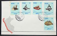Perú Illustrated cover FDC lima fish Nautical Stamps MIF hasta etiquetas carta (h-10152