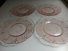 More details for antique 4 x pink glass cherry blossom saucer/plates, jeanette glass co. 1930's