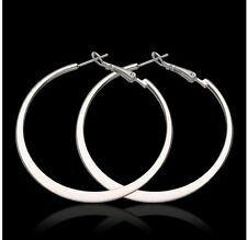 925 Sterling Silver Plated Smooth Flat Large Circle Hoop Earrings Jewelry - 2""