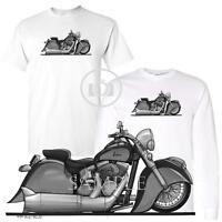 Indian Vintage Classic Koolart Motorcycle / Car Cartoon Art Biker White T Shirt