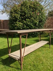Vintage Wooden Folding Trestle Table~Oak Top~Potting Bench~Rustic~Desk~Stall~