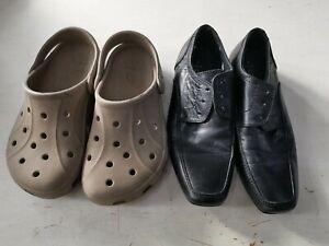 Crocs beige Junior Size 1 Next black school shoes used