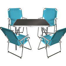 5tlg. Campingmöbel-Set Tisch 75x55cm + 4x Klappstuhl Hellblau