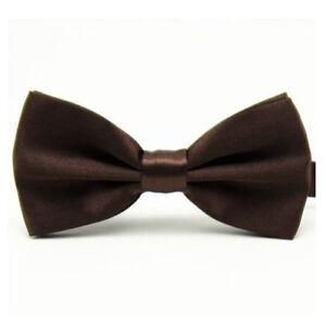 Men Satin Pre-Tied Solid Plain Bow Tie Wedding Adjustable Tuxedo Bowties Necktie