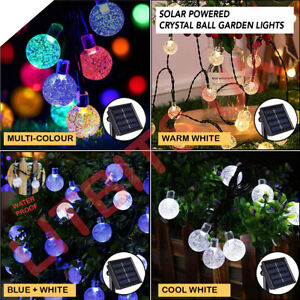 LED Solar Power Crystal Hanging Ball Fairy Colour Changing Garden Lights 30 50