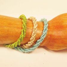 Set of 3 Turquoise Cream Green Handmade Beaded Twisted Rope Seed Bead Bracelets