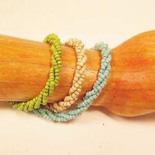 Set of 3 Turquoise Cream Green Handmade Beaded Twisted Rope Seed Bead Bracelets