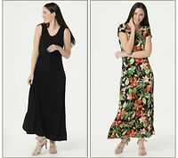 Attitudes by Renee Como Jersey Set of 2 Maxi Dresses (Black/Multi, XL) A347401