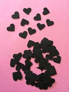 100 small Black hearts wedding crafts, scrapbooking, table confetti, decorations