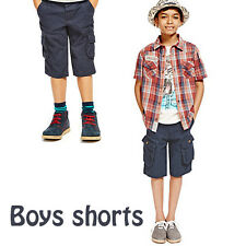 Boys Shorts Ex M*S Combat, Multiple Pockets Navy,Beige,Orange 5-14 Years