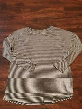 Gilligan & O'Malley Light Grey Long Sleeve Women's Sleepwear Top L Striped
