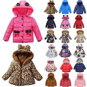 Kids Boys Girls Long Sleeve Padded Jacket Puffer Bubble Hooded Winter Warm Coat