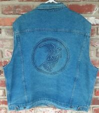 Vintage Tyca Eagle Flag Embossed Denim Sleeveless Jean Jacket USA Made Sz XXL