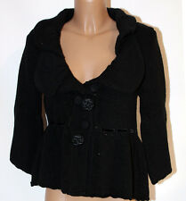 Maglia Giacchino nero di lana capospalla CarloPik donna M cardigan