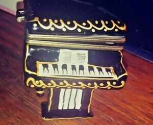 1960s French Limoges Style Black and Gold Grand Piano Trinket Box With Bench