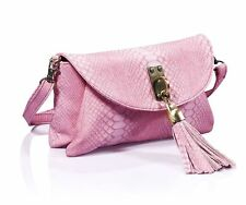 B70083 - Pink tassel snake PU clutch bag