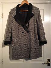 Debenhams VINTAGE 80 S Stile Nero Bianco Lungo Cappotto Invernale Donna Taglia 12