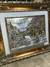 Silver on Bronze Plaque | Ships and Castle