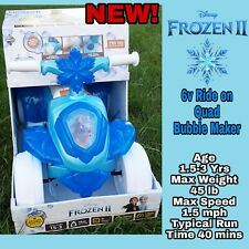 HUFFY Disney Frozen II 2 Quad 6V Ride On NEW BUBBLE MAKER Toddler Toy Girls NEW