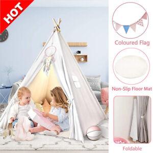 Kids Tent Teepee Wigwam Children Playhouse with Floor Mat Indoor Outdoor Gift UK