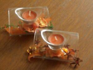 2 Teelichthalter Glas mit Dekoschleife u. Teelicht NEU
