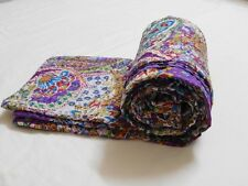 Purple Paisley Kantha Quilt Indian Bedspread Queen Size Blanket Reversible Throw