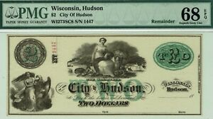$2 City of Hudson, Wisconsin.  PMG 68 EPQ SUPERB GEM Uncirculated.