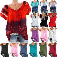 Plus Size Women Summer Floral Short Sleeve T-Shirt Tops Vest Tunic Casual Blouse