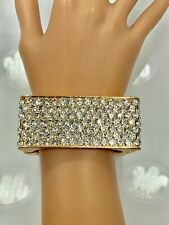 Crystal Jumbo Square Bangle Bracelet - Gold Tone