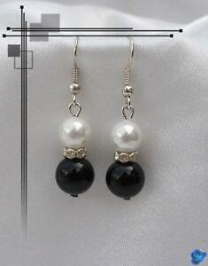 Boucles d'Oreilles Osiris Perles Onyx Et Nacrée Blanc Rondelle Strass Crystal