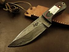 Handmade Pattern Welded Damascus Steel Hunting Knife-Functional-Neck Hanging-NK9