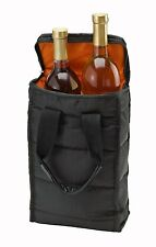 Wine Carrying Case Tote Bag Travel 2 Bottle Carrier Insulated Durable Zippe