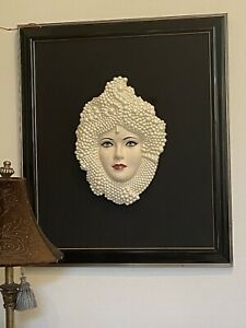 High Relief Woman's Face with Beaded Headdress Ceramic Wall Hanging Art Deco