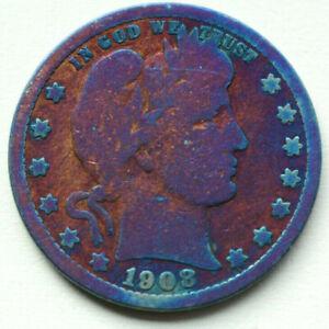 1908 O Barber Silver Quarter Rainbow Toned
