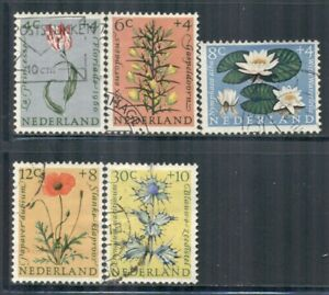 NETHERLANDS B343-47 SG893-97 Used 1960 Flowers Semi-Postal set of 5 Cat$9