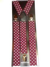 New Polka Dots Colors Mens Womens Clip-on Suspenders Adjustable Braces US SELLER