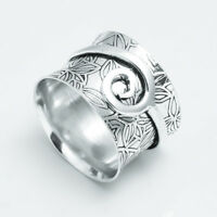 Solid 925 Sterling Silver Meditation Ring Statement Ring Spinner Ring Size jj01