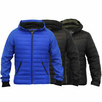 Mens Jacket Threadbare Coat Hooded Mesh Quilted Padded Bomber Bubble Winter New
