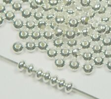 300 Shiny Silver Plated Brass Beads , 3x2mm Smooth Rondelle Jewelry Spacer