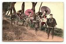 Vintage Postcard hand Colored Geishas in Carts Rickshaws Japan J6