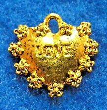 "50Pcs. WHOLESALE Tibetan Gold ""LOVE"" Heart Charms Pendants Earring Drops Q1146"