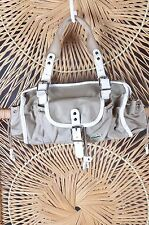 Lacoste Tan/white Nylon Purse Tote Handbag Bag