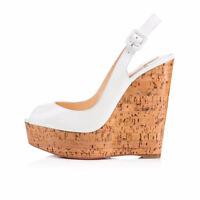 Women Peep Toe Cork Wedge High Heel Platform Pumps Slingback Summer Sandals