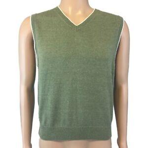 Gap Men's Cotton V-Neck Sweater Vest Green with White Trim Size Small