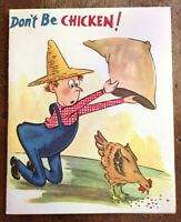 Farmer Catching Chicken Vintage Unused Birthday Greeting Card