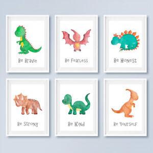 Dinosaur Quote Prints Set Childrens Boys Bedroom Wall Art Pictures Nursery Decor