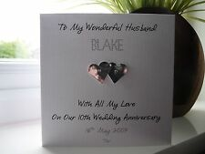 Handmade Personalised Tin 10th Wedding Anniversary Card Husband Wife Couple